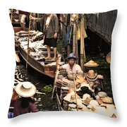 Floating Market Bangkok Throw Pillow