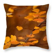 Floating On Orange Fall Leaves Throw Pillow