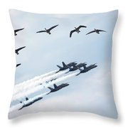 Flock Of Canada Geese At Air Show Throw Pillow