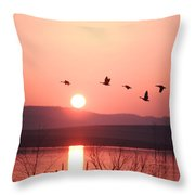 Flock Of Canada Geese Flying Throw Pillow