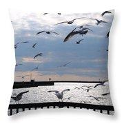 Flocking Gulls Throw Pillow