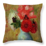 Floral Arrangement In Green Vase Throw Pillow