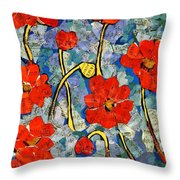Floral Art - Red Poppies Throw Pillow