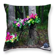 Floral Bicycle On A Cloudy Day Throw Pillow