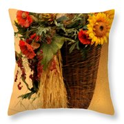 Floral Horn Of Plenty Throw Pillow