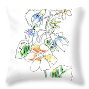 Floral Watercolor Paintings 4 Throw Pillow
