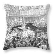 Florence: Horse Race, 1857 Throw Pillow