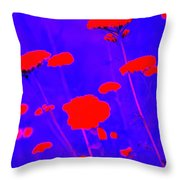 Flourescent Florals Throw Pillow