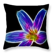 Flower - Electric Blue - Abstract Throw Pillow
