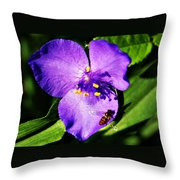 Flower And Bee Throw Pillow