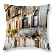 Flower Balcony Throw Pillow