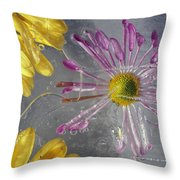 Flower Blossoms Under Ice Throw Pillow