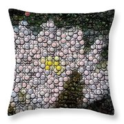 Flower Bottle Cap Mosaic Throw Pillow by Paul Van Scott