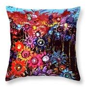 Flower Garden Throw Pillow by Karen Elzinga