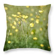 Flower Of A Buttercup In A Sea Of Yellow Flowers Throw Pillow