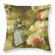 Flower Seller In Front Of The Madeleine Church Throw Pillow
