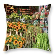 Flower Shop In Amsterdam Throw Pillow
