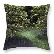 Flowering Trees Amid A Meadow Full Throw Pillow
