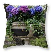 Flowerpot With Hydrangea Throw Pillow