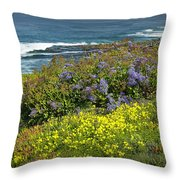 Flowers Along The Shore At La Jolla California No.0203 Throw Pillow