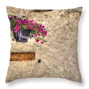 Flowers And A Signboard Throw Pillow