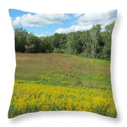Flowers And Grass Two Throw Pillow