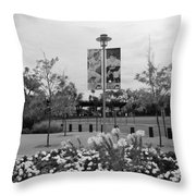 Flowers At Citi Field In Black And White Throw Pillow by Rob Hans