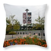 Flowers At Citi Field Throw Pillow by Rob Hans