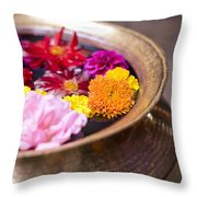 Flowers Floating In A Bowl Filled With Throw Pillow