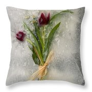 Flowers Frozen In Ice Throw Pillow