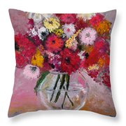 Flowers In A Glass Vase Throw Pillow