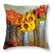 Flowers In Cans Throw Pillow
