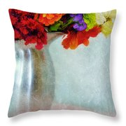 Flowers In Metal Pitcher Throw Pillow