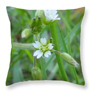 Flowers Of The Grass Throw Pillow