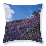 Flowers On A Hill Throw Pillow