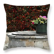 Flowers On The Well Throw Pillow