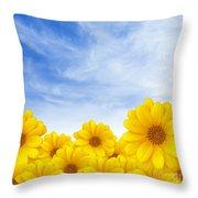 Flowers Over Sky Throw Pillow