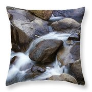 Flowing Water Down The Colorado St Vrain River Throw Pillow