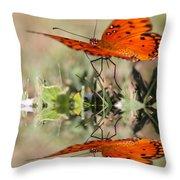 Fluttering Reflections - Butterfly Throw Pillow