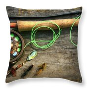 Fly Fishing Rod With Polaroids Pictures On Wood Throw Pillow