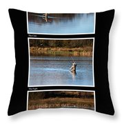 Fly Fishing Triptych Black Background Throw Pillow