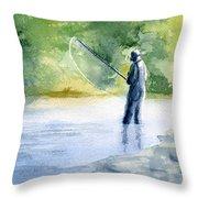 Flyfishing Throw Pillow