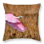 Flying Across The Wetlands Throw Pillow