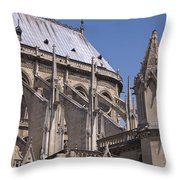 Flying Buttress At Nortre Dame Cathedral Throw Pillow