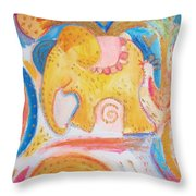 Flying Elephant Throw Pillow
