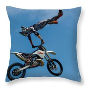 Flying High Motorcyle Tricks Throw Pillow