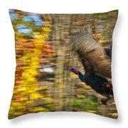 Flying Wild Turkey Escapes Thanksgiving Throw Pillow