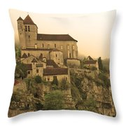 Fog Descending On St Cirq Lapopie In Sepia Throw Pillow