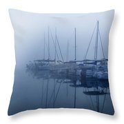 Fog Hides Sun From Sailboats Throw Pillow