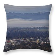 Fog Over A Grants Pass Morning Throw Pillow